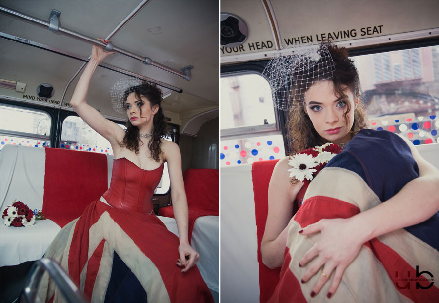 london-wedding-photographer-bus-union-jack-dress-15 On the Buses//Best of British//Big Red Wedding Photography Shoot Deptford